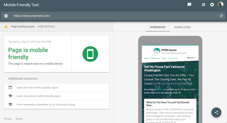 Google Mobile Friendly Test Result - pnwinvest.com