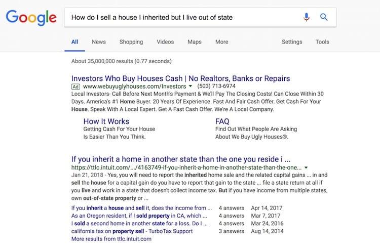 Long Tail Investor Keyword Example Of Google Search Screenshot